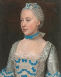 Portrait of Madame Saint Pol, half-length, in a light blue gown trimmed with blue silk bows and white lace