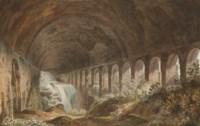 A cascade in the vault beneath the Villa of Maecenas at Tivoli