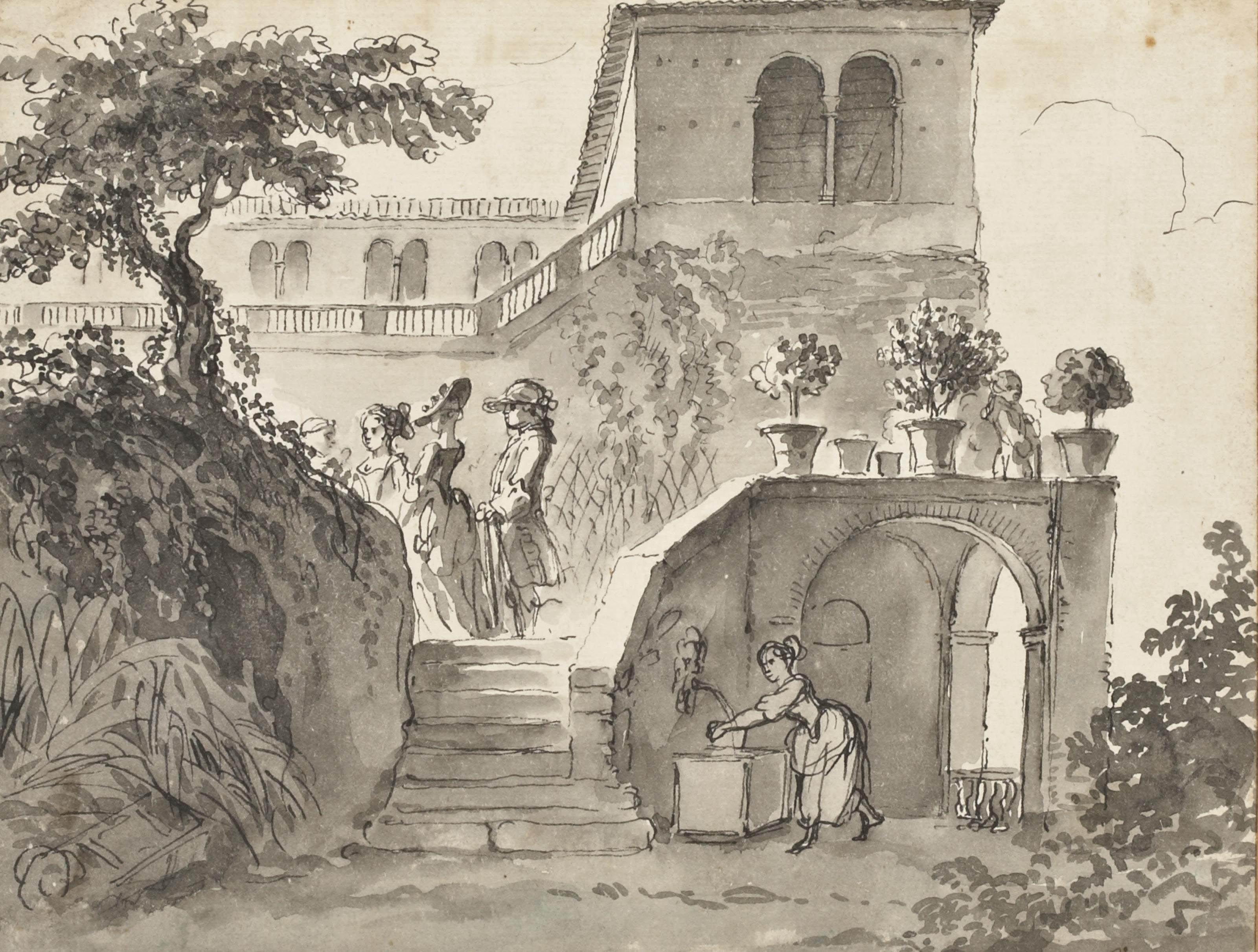 Elegant figures in a garden at Cintra