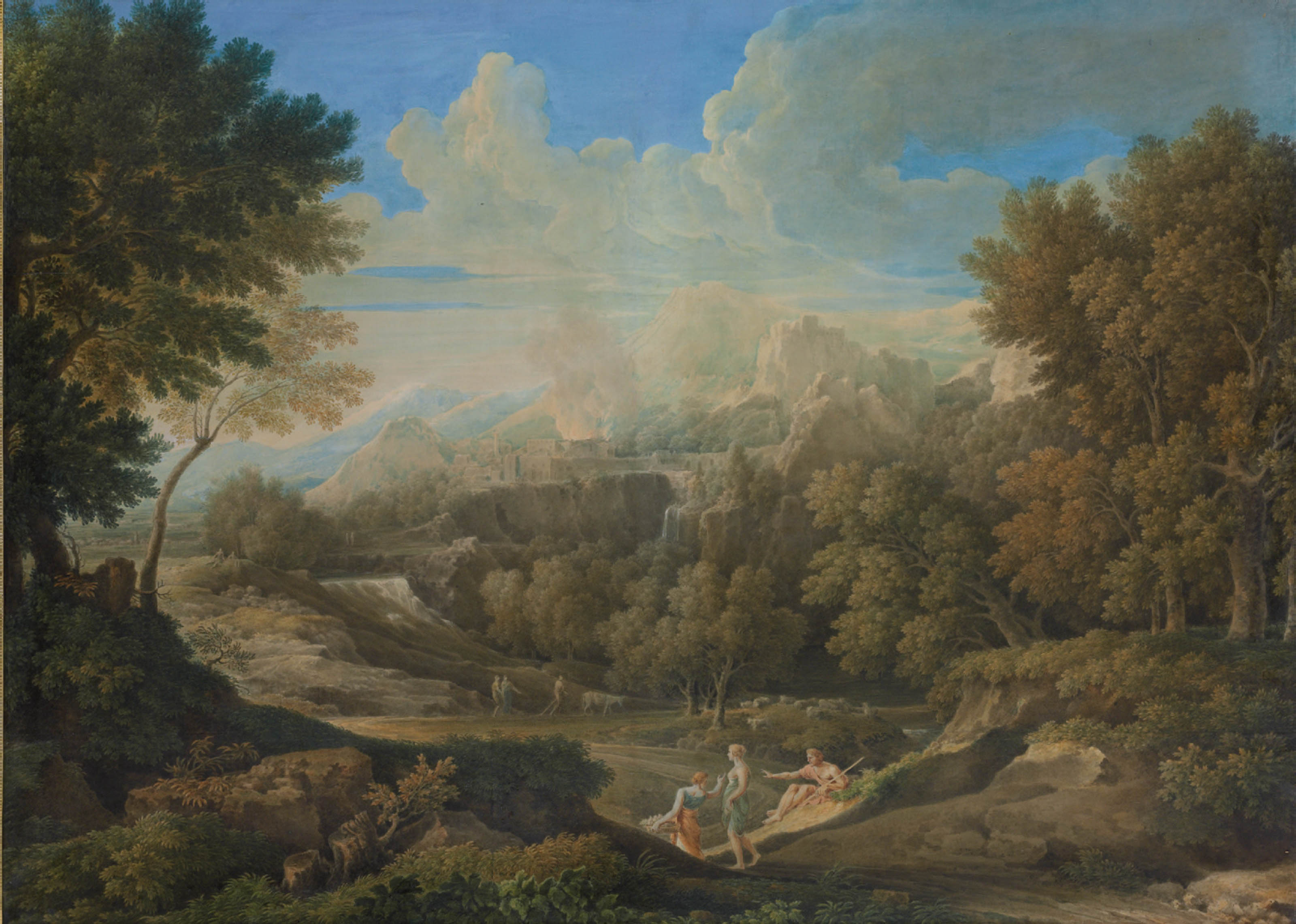 An Arcadian landscape with a burning city on a cliff beyond and shepherds resting in the foreground