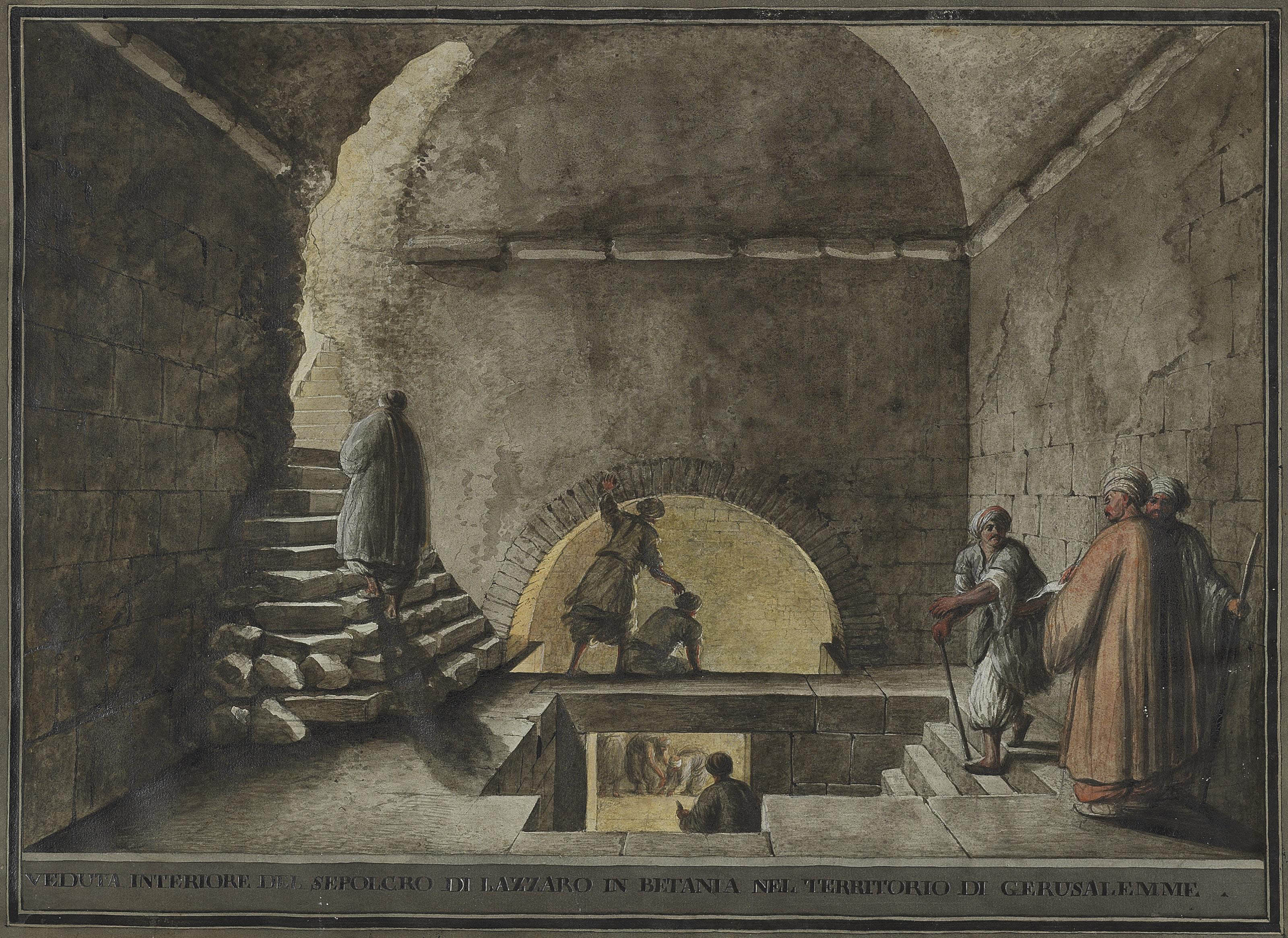 Views of Bethany: The interior of the supposed tomb of Lazarus; and View of Bethany with the tomb of Lazarus