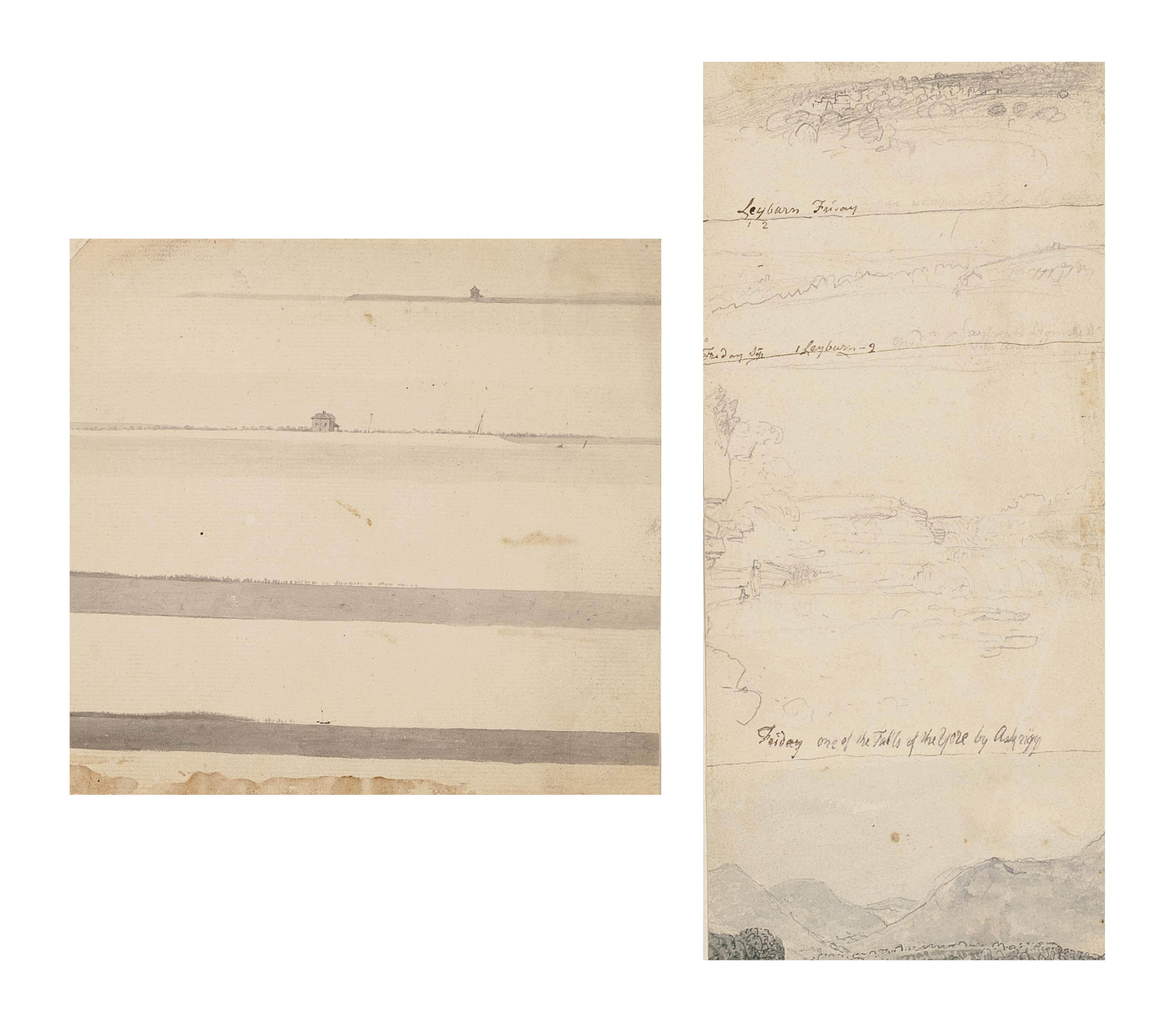Four panoramic seascapes (illustrated); Two landscapes with a castle on a hill top; View of the Humber from Barton; Four Yorkshire landscapes (illustrated); and Study of rocks