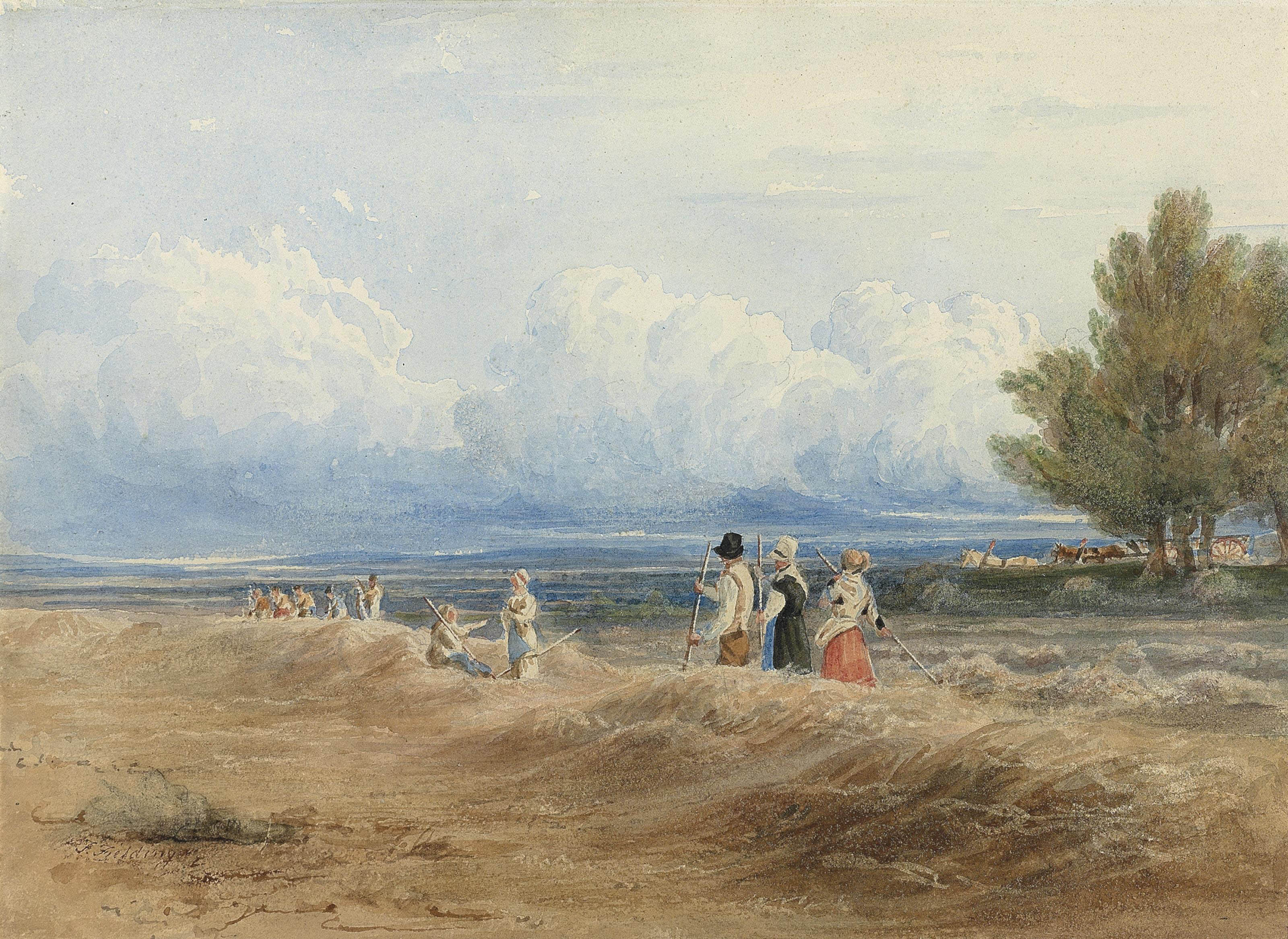Gleaners at work on a windy summer's day