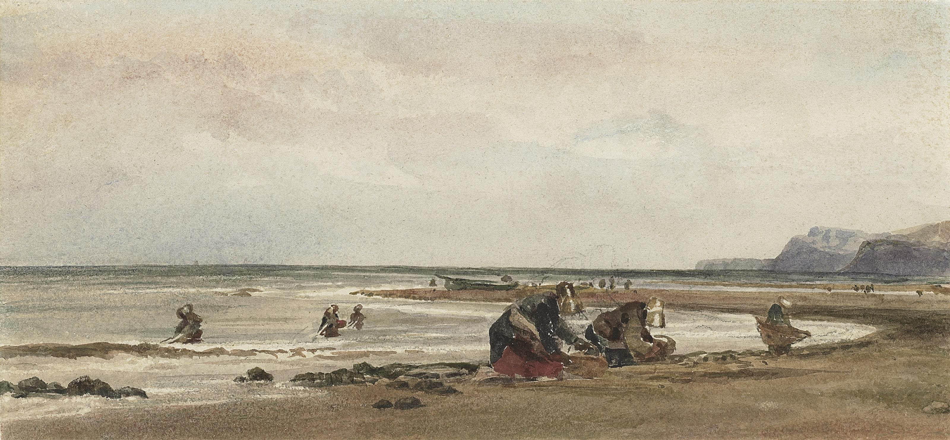 Seaweed gatherers on the shore at Redcar, Yorkshire