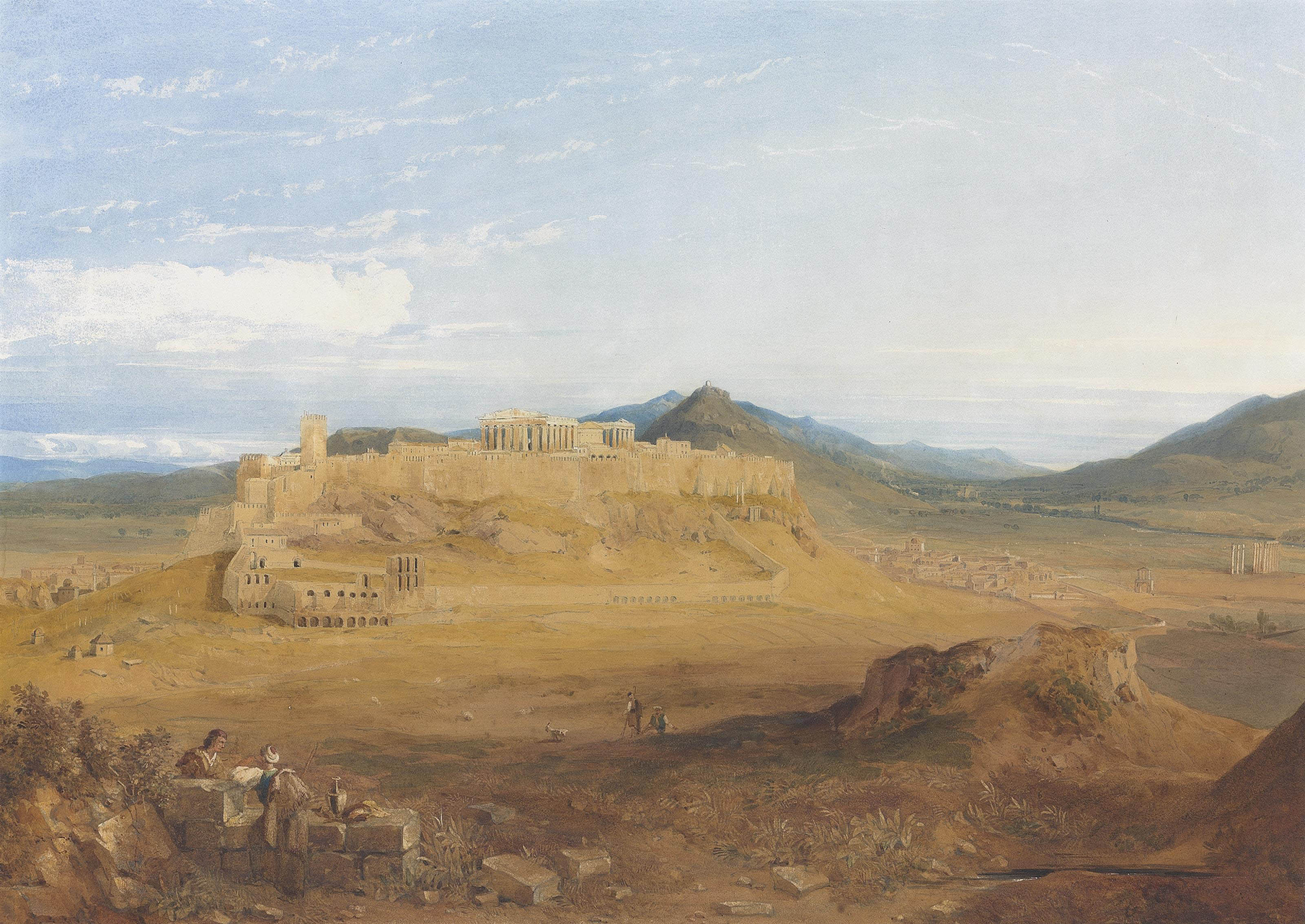 An extensive view of the Acropolis, Athens, with the Herodeion Atticon below