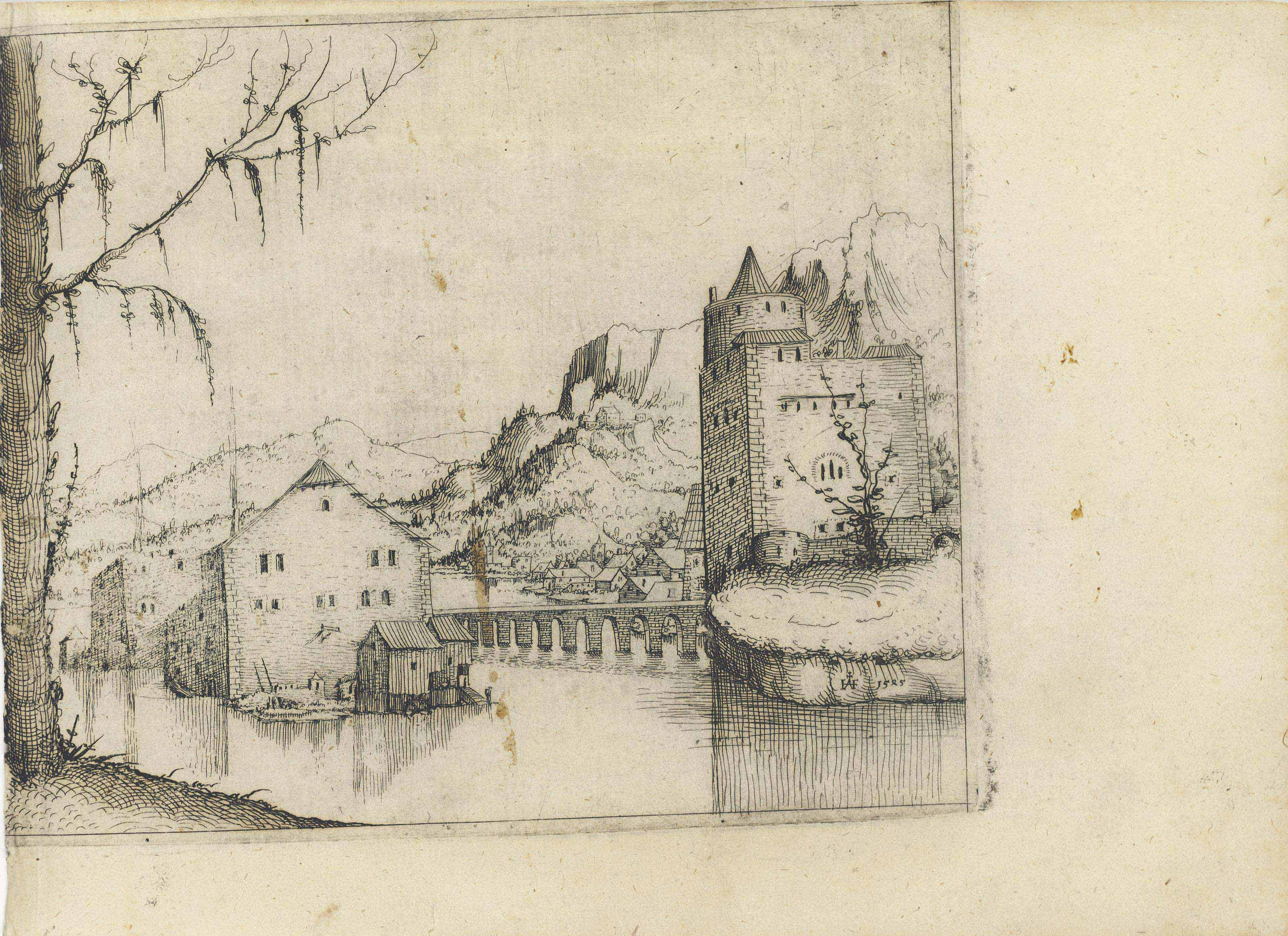 River Landscape with two Buildings connected by a Bridge (Sch., B. 66; Holl. 39)