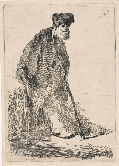 Rembrandt Harmensz. van Rijn, Man in a Coat and Fur Cap Leaning against a Bank (B., Holl. 151; H. 14).  P 112 x 78 mm,  S 118 x 84 mm. Sold for £20,000 on 6 December 2012 at Christie's in London