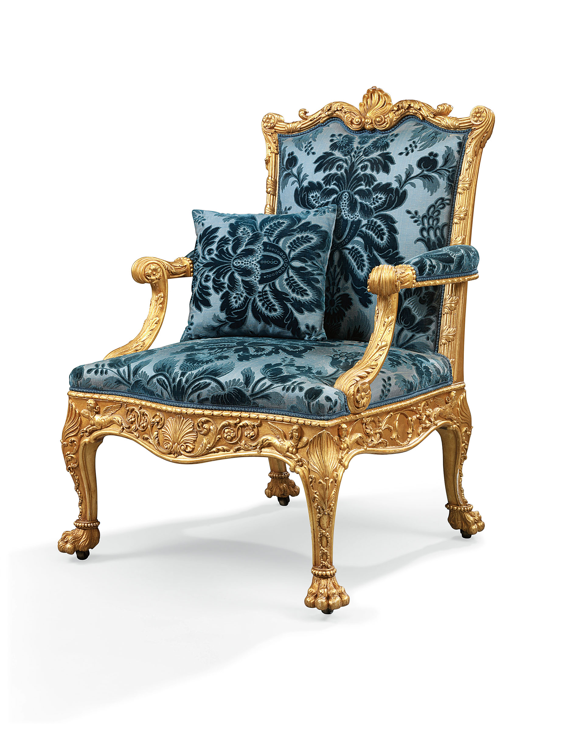 A George Iii Giltwood Armchair Designed By Robert Adam