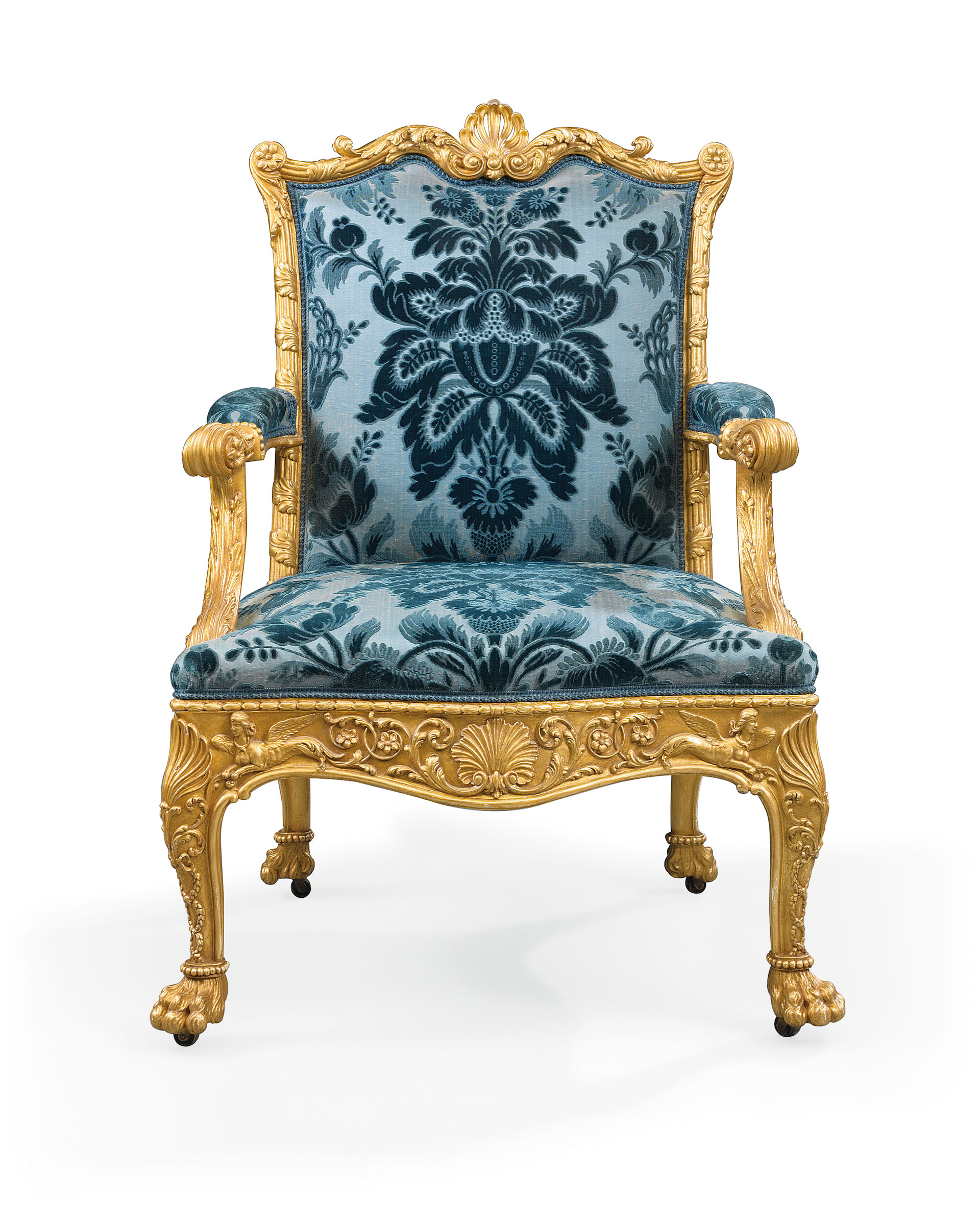A George Iii Giltwood Armchair Designed By Robert Adam
