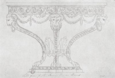 A GEORGE III GILTWOOD DEMI-LUN