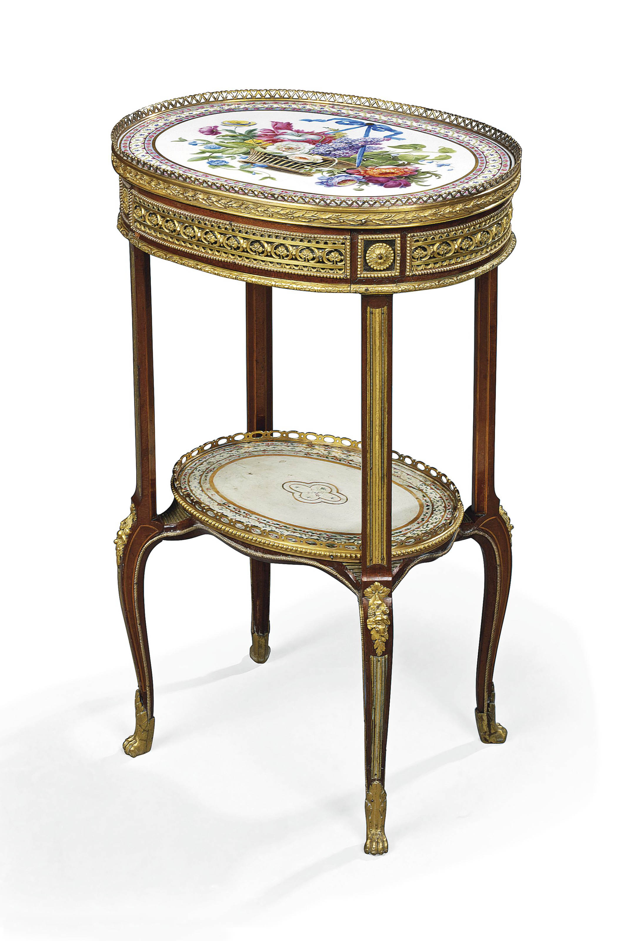 A LOUIS XVI ORMOLU-MOUNTED, SEVRES PORCELAIN AND SYCAMORE GUERIDON