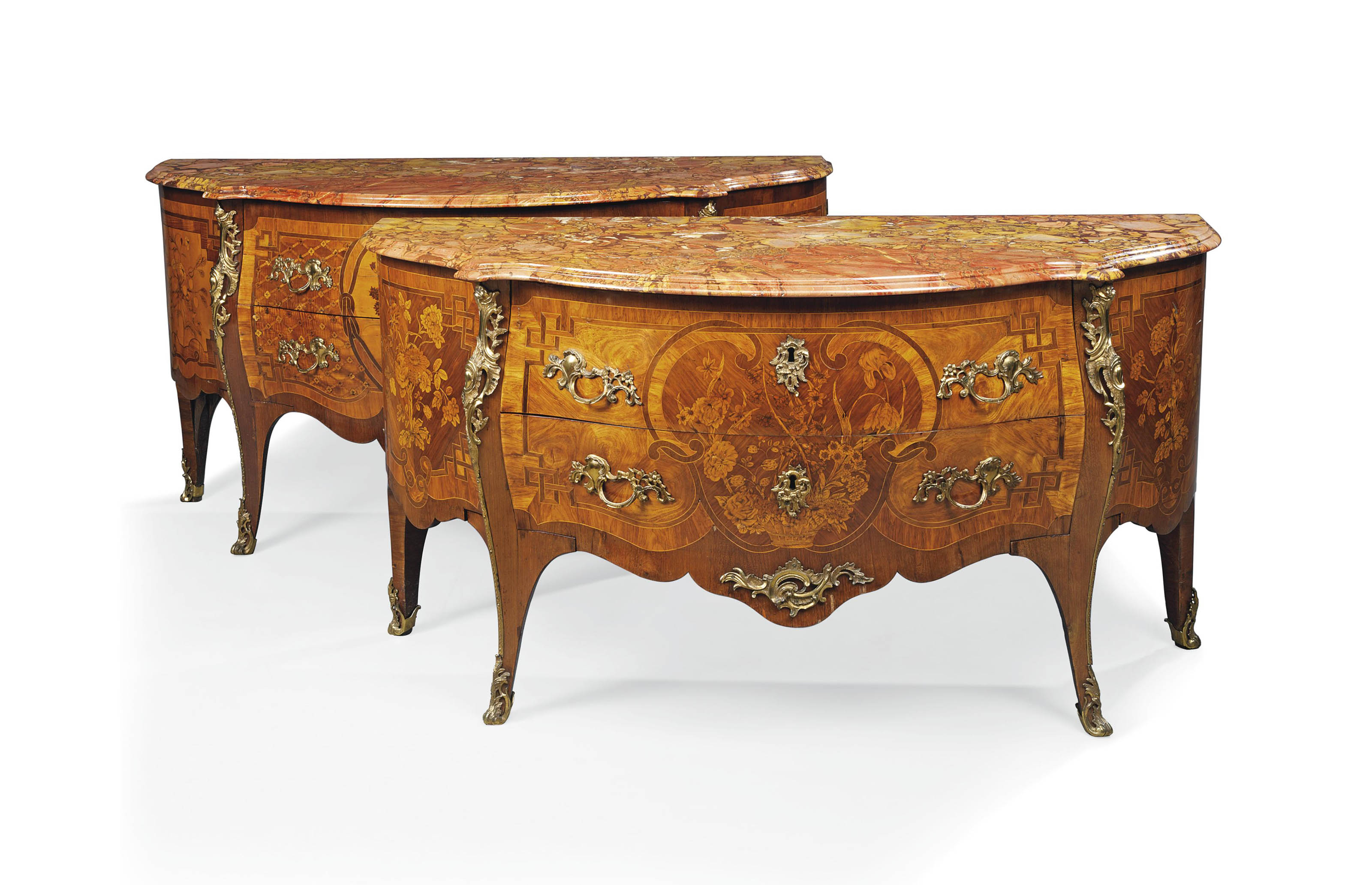 A MATCHED PAIR OF DUTCH ORMOLU-MOUNTED KINGWOOD, AMARANTH, TULIPWOOD AND MARQUETRY COMMODES