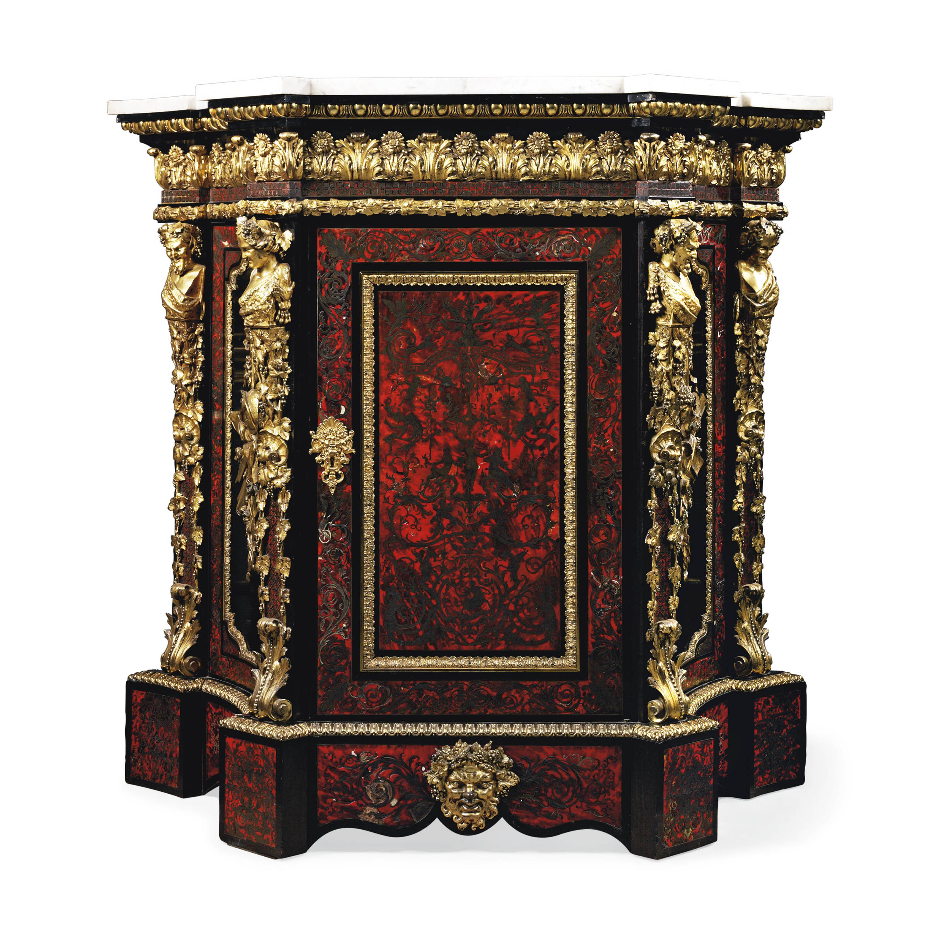 A LARGE NAPOLEON III ORMOLU-MOUNTED CUT BRASS-INLAID RED TORTOISESHELL 'BOULLE' MEUBLE A HAUTEUR D'APPUI