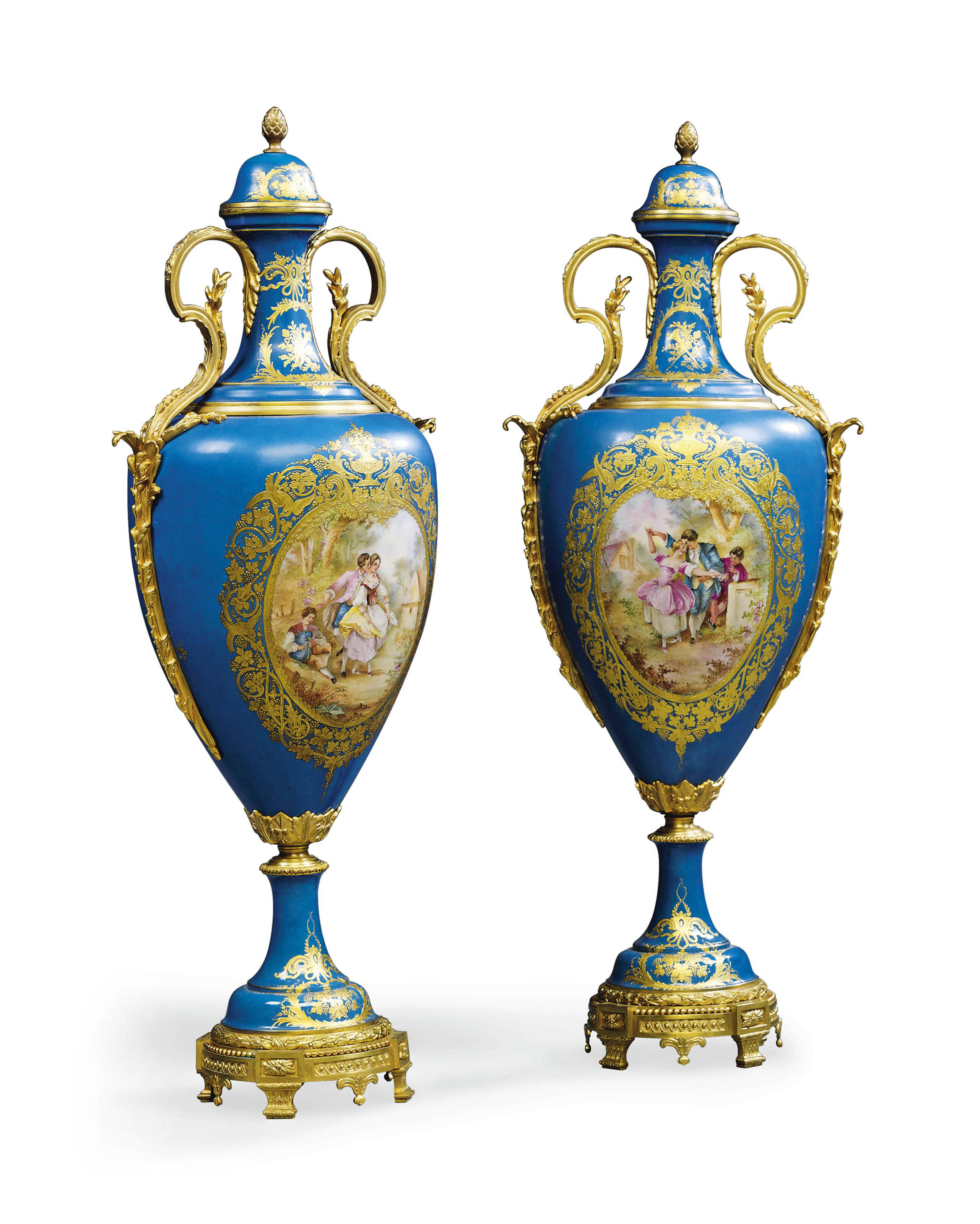 A PAIR OF ORMOLU-MOUNTED SEVRES-STYLE TURQUOISE-GROUND