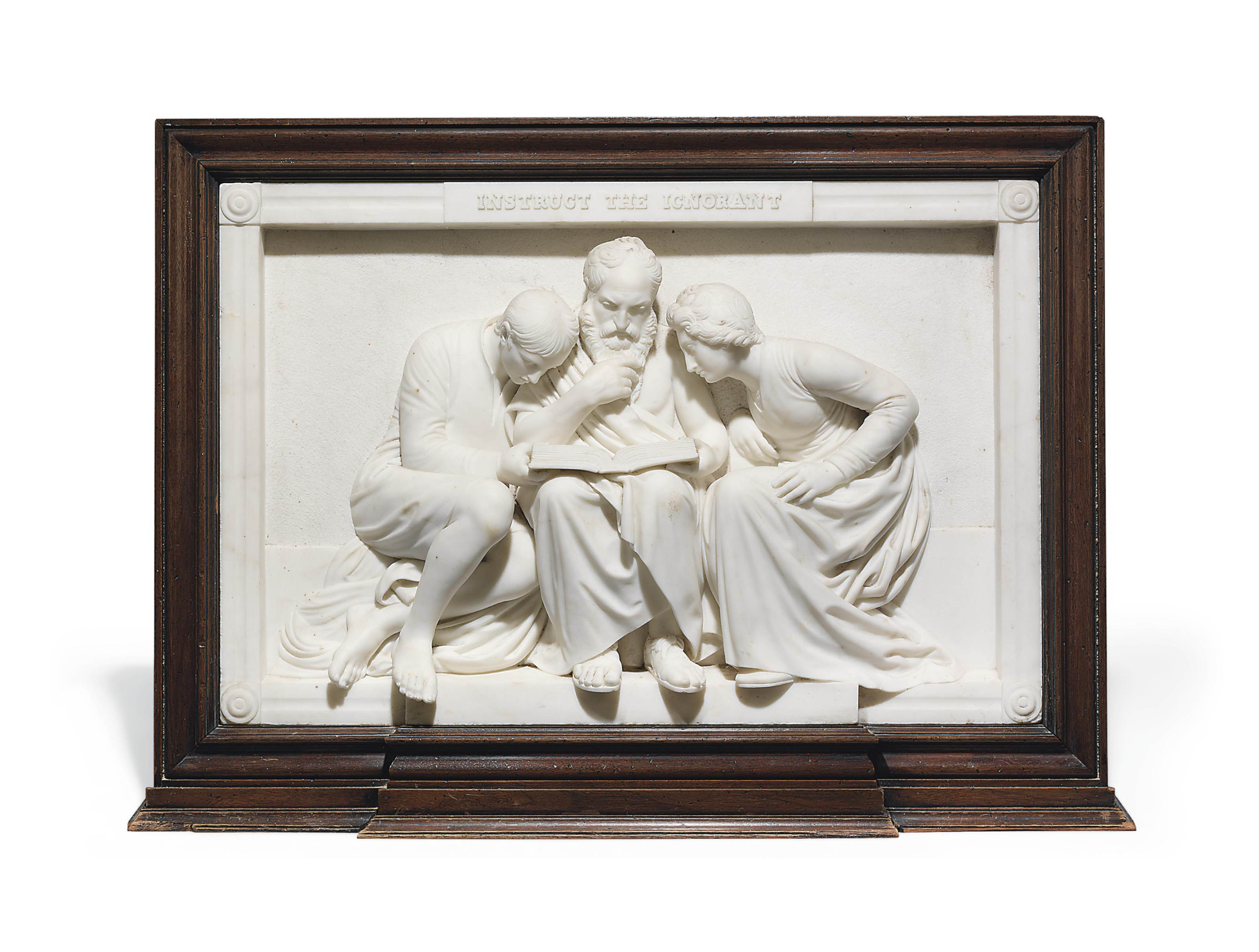 An English White Marble Bas Relief Entitled Instruct The Ignorant