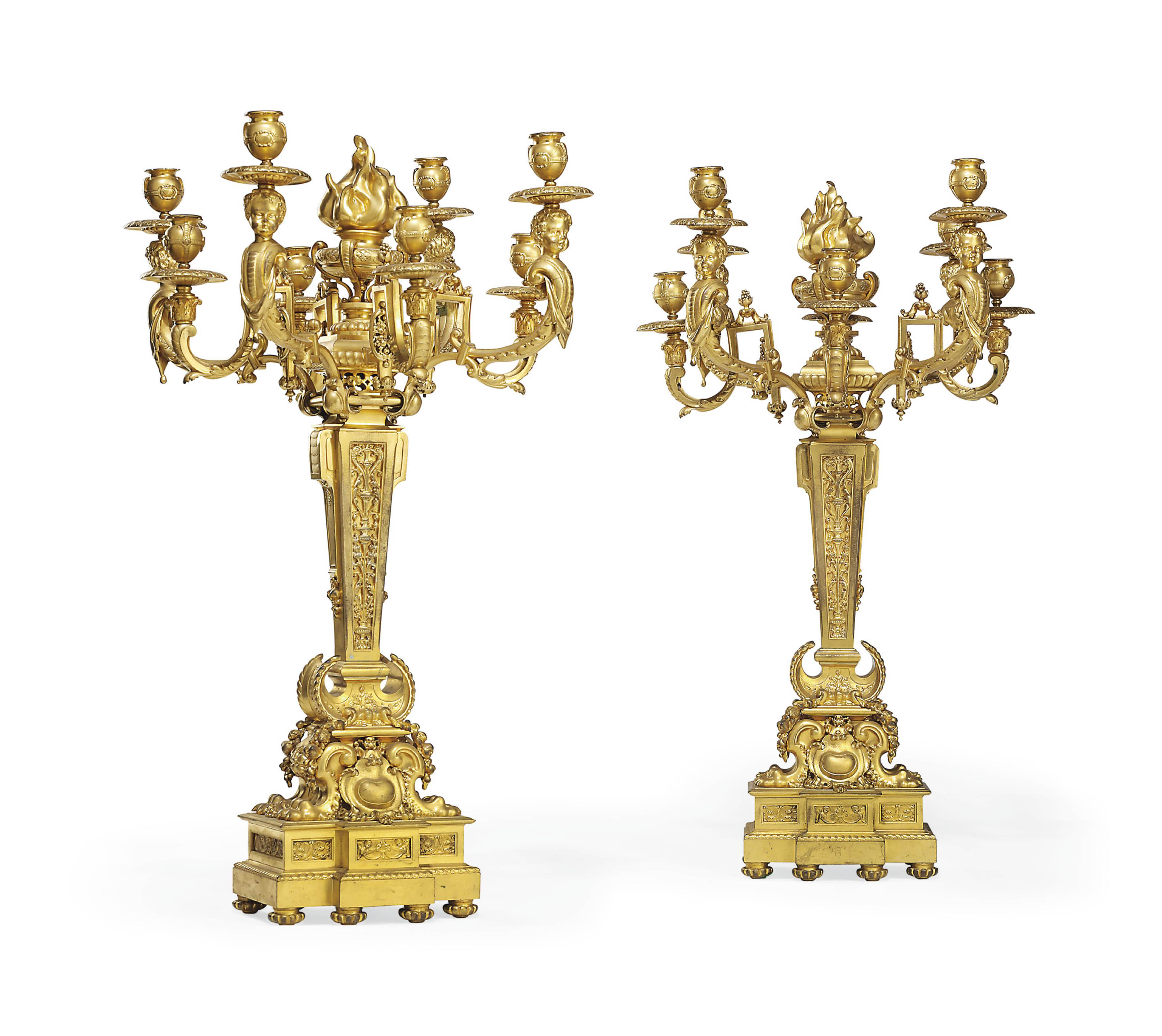 A PAIR OF NAPOLEON III ORMOLU EIGHT-LIGHT CANDELABRA