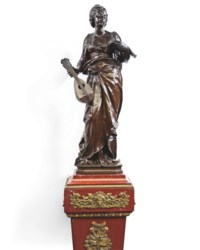 A PAIR OF FRENCH BRONZE FIGURES OF A GIRL PLAYING A CELLO AND A GIRL PLAYING A VIOLIN