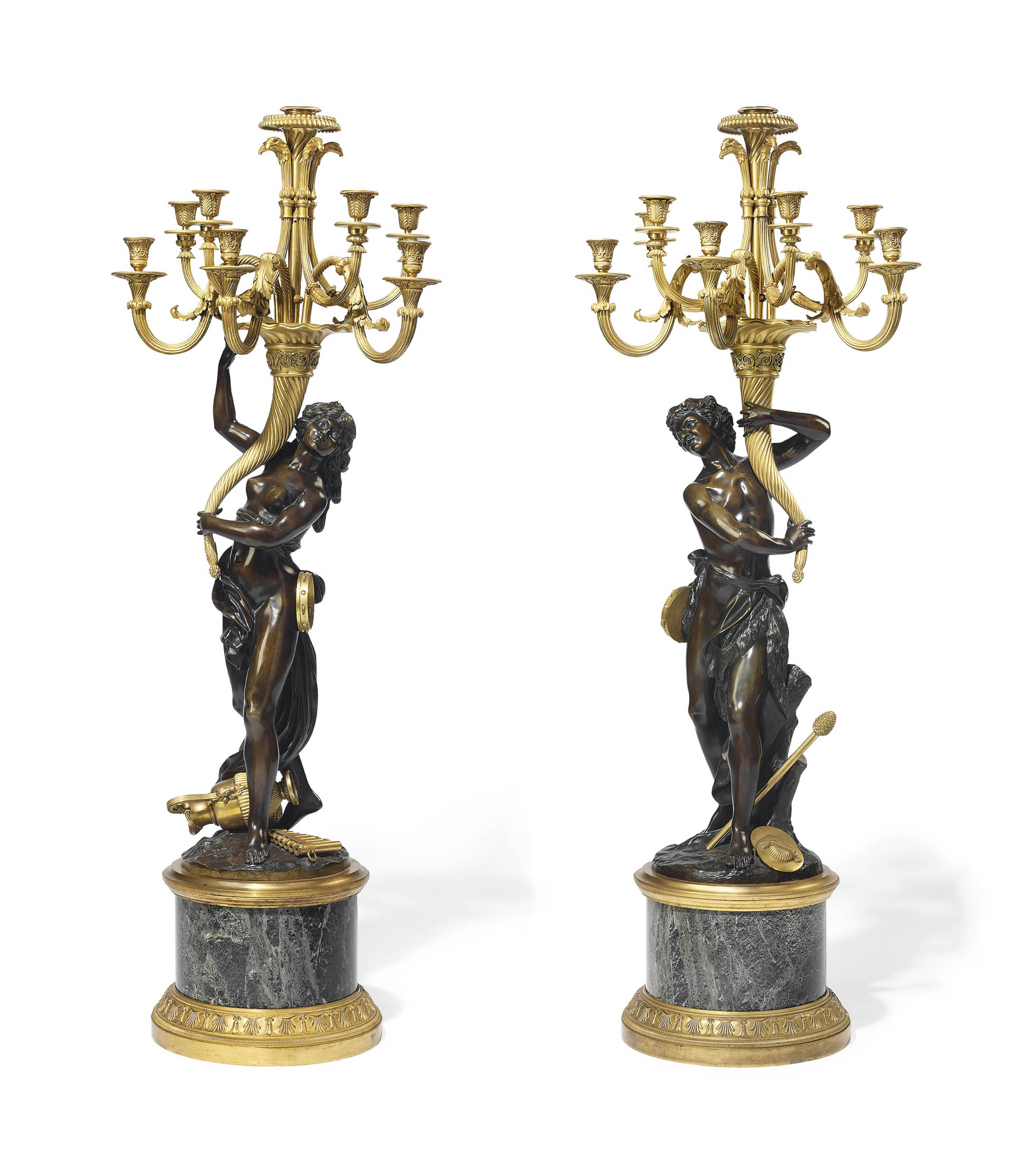 A PAIR OF LARGE FRENCH ORMOLU, PATINATED BRONZE AND MARBLE EIGHT-LIGHT FIGURAL CANDELABRA