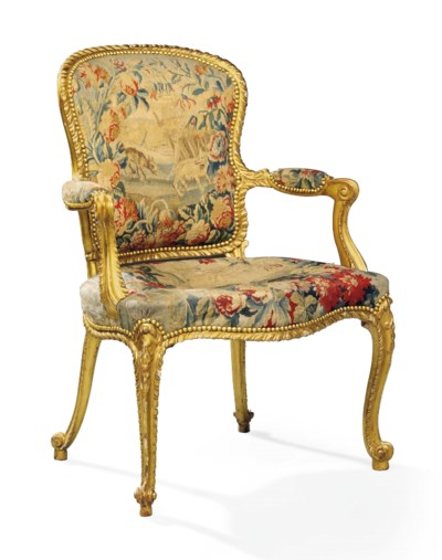 A GEORGE III GILTWOOD OPEN ARM