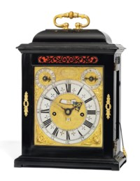 A WILLIAM AND MARY EBONY-VENEERED STRIKING EIGHT-DAY TABLE CLOCK WITH PULL QUARTER REPEAT