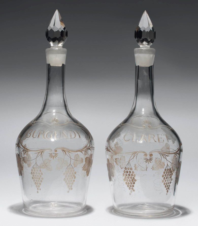 A pair of English engraved-glass magnum decanters and stoppers, circa 1770. 14½ in (36.8 cm) high (2). Sold for £10,000 on 31 October 2012 at Christie's in London