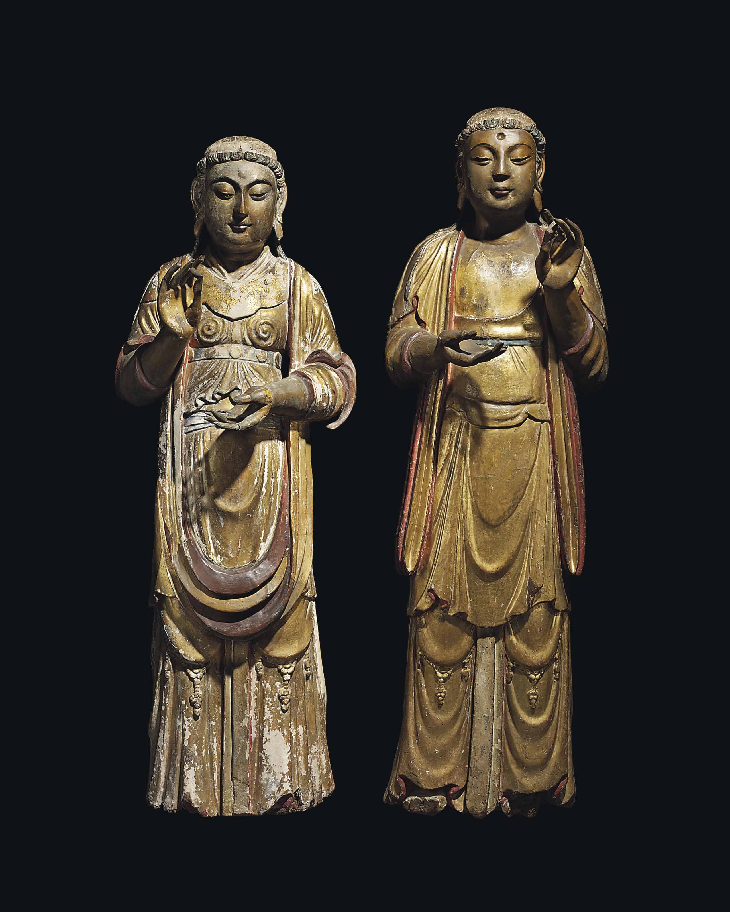 TWO GILT LACQUERED FIGURES OF BODHISATTVAS