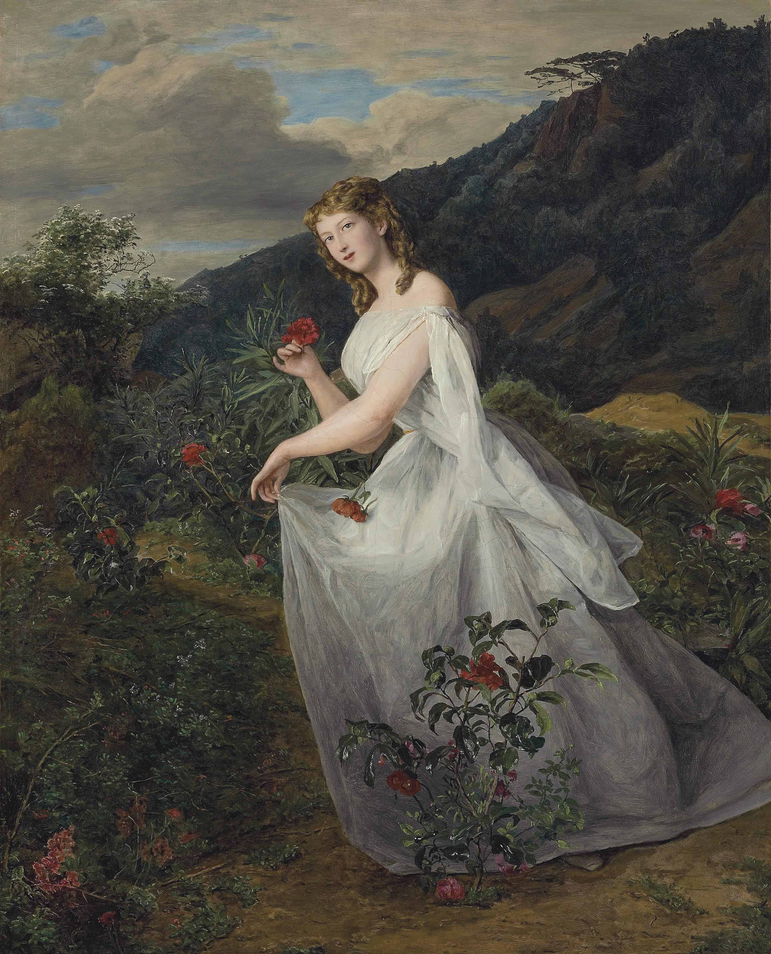 Young lady in a white dress