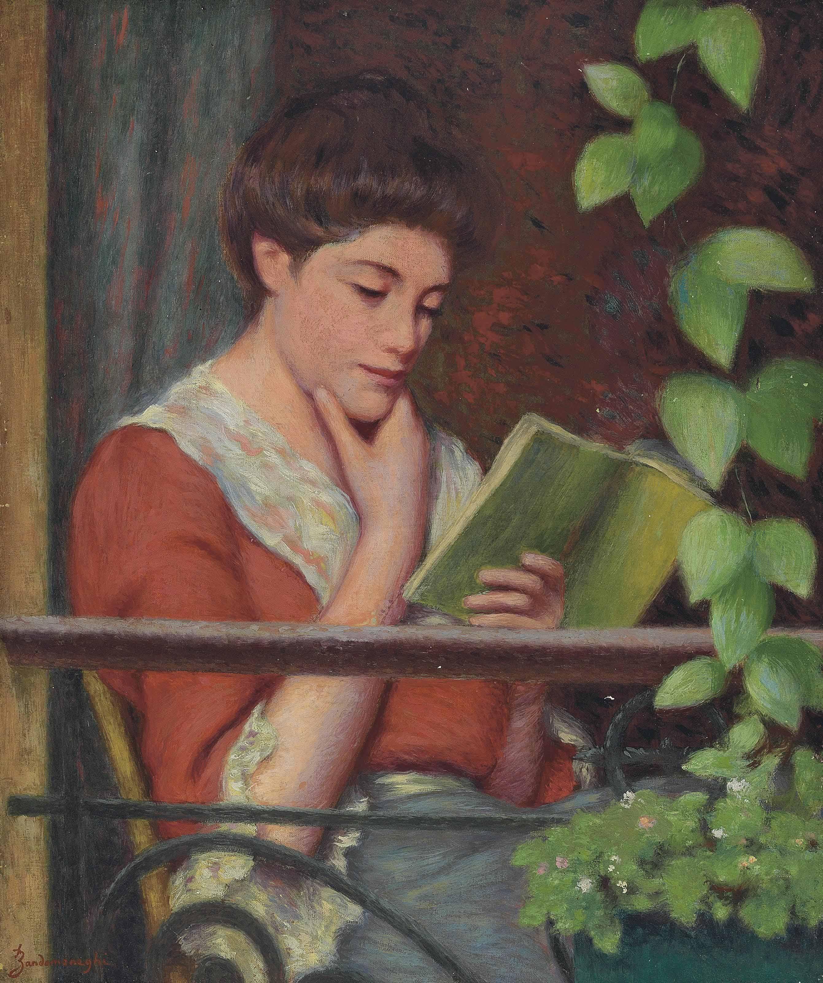 Lettura al fresco - Donna al balcone
