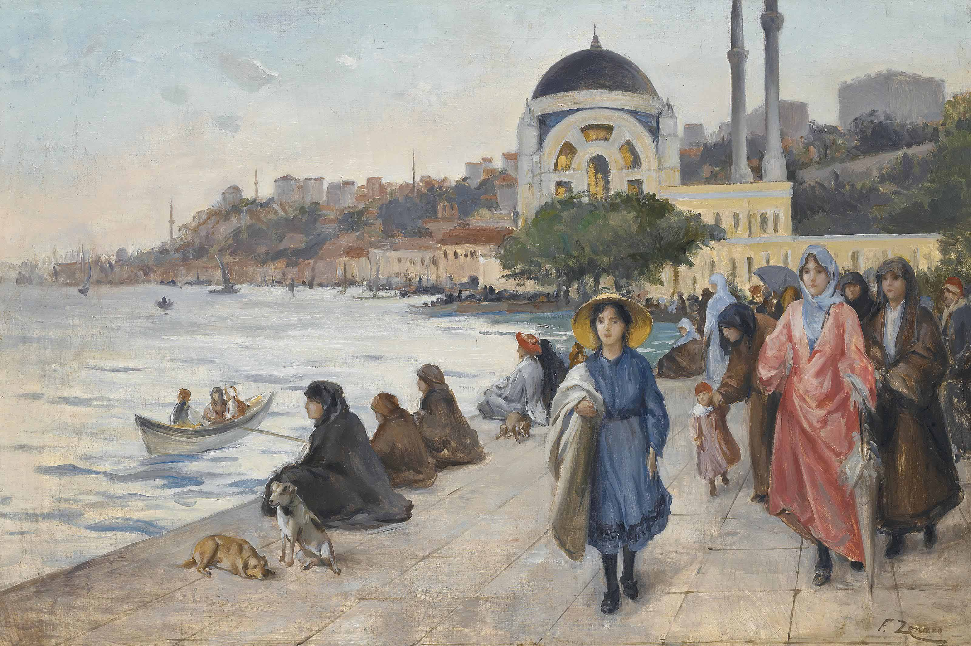 Mafalda on the Banks of the Bosphorus, the Dolmabahçe Mosque in the background