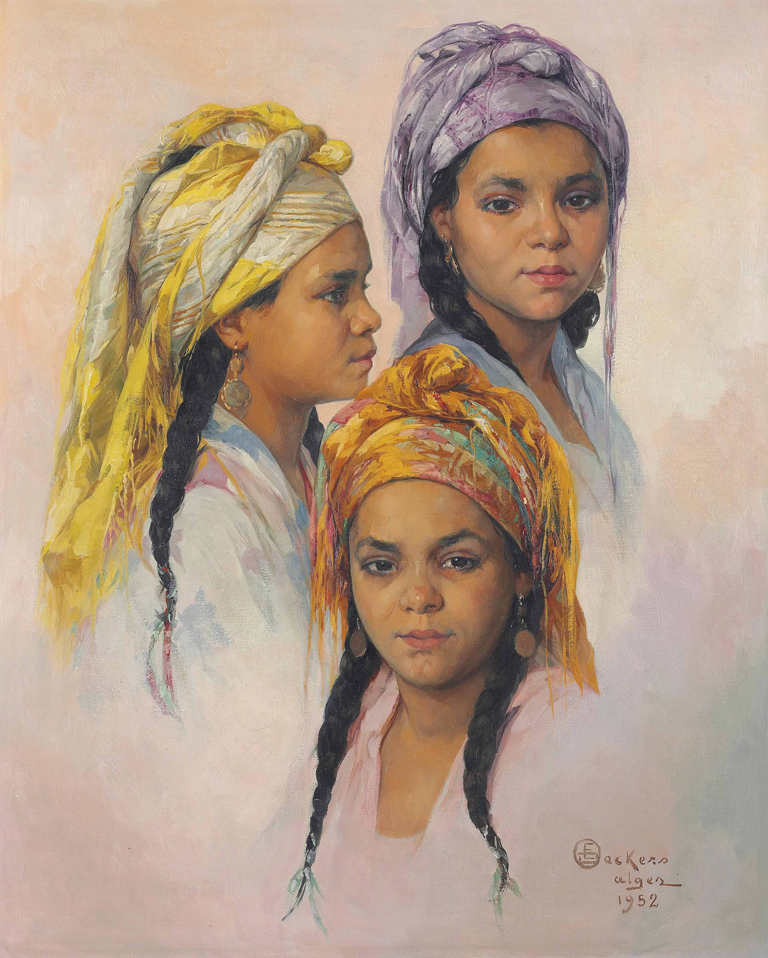 Three studies of the head of an Algerian beauty