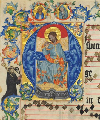 CHRIST IN MAJESTY, historiated