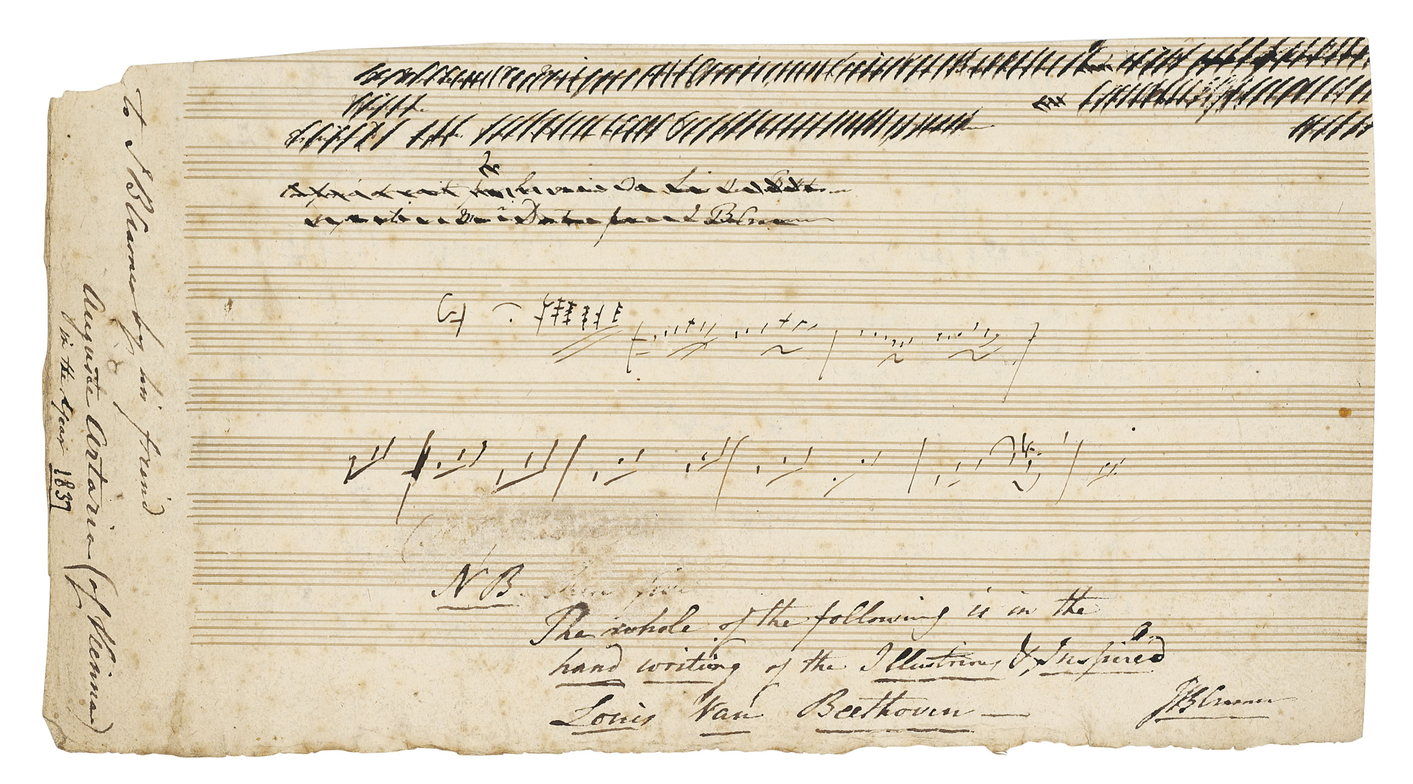BEETHOVEN, Ludwig van (1770-1827). Autograph music manuscript, [Vienna, c.1806], a sketchleaf for the slow movement of the String Quartet in C, op.59, no.3, the third 'Razumovsky' quartet, a densely-used leaf comprising a number of sketches and drafts of varying lengths, on one, two or three staves, with frequent cancellations and emendations, the sketches principally on the verso (two drafts only on the recto), one stave extended into the margin, two pages, 150 x 280mm, ruled with 11 staves, cut down from a larger leaf, probably of 16 staves (slight spotting, stitch holes at margin).
