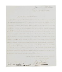 BOLIVAR, Simon (1783-1830). Letter signed ('Bolivar') TO ALEXANDER VON HUMBOLDT, Bogota, 10 November 1821, in Spanish, one page, 4to, annotation in French to lower margin (small hole where folds cross), tipped onto a mount. Provenance: Sotheby's, 23 November 1984, lot 270.