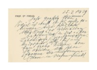FREUD, Sigmund (1856-1939). Autograph letter signed ('Freud') to Gertrud ('Trude') Gutmann, Vienna, 25 March 1929, a letter to an expectant mother, EXPRESSING HIS NEUTRALITY AS REGARDS THE PRACTICE OF CIRCUMCISION: 'So viel ich weiß ist es nicht gelungen eine schädliche Wirkung der aktuellen Beschneidung in der ersten Lebenswoche nachzuweisen. Anderseits lässt sich auch kein realer Nutzen von ihr ableiten. Also haben fromme wie unfromme Eltern in diesem Punkt freie Hand' ('As far as I know no dangerous effects of the current practice of circumcision in the first week after birth have ever been demonstrated. On the other hand no real benefits appear to be derived from it. So observant or non-observant parents have a free hand on this point'); Freud concludes with best wishes for the birth, 2 pages, oblong 8vo, on a correspondence card, envelope; [with] an autograph letter signed by Alfred Adler to the same recipient, New York, 5 April 1929, on the same subject, expressing his opposition to circumcision as constraining the child's free choice, and criticising the observations of 'die Freudianer' on the subject, one page, folio. Provenance: by descent from the recipient.	 (2)