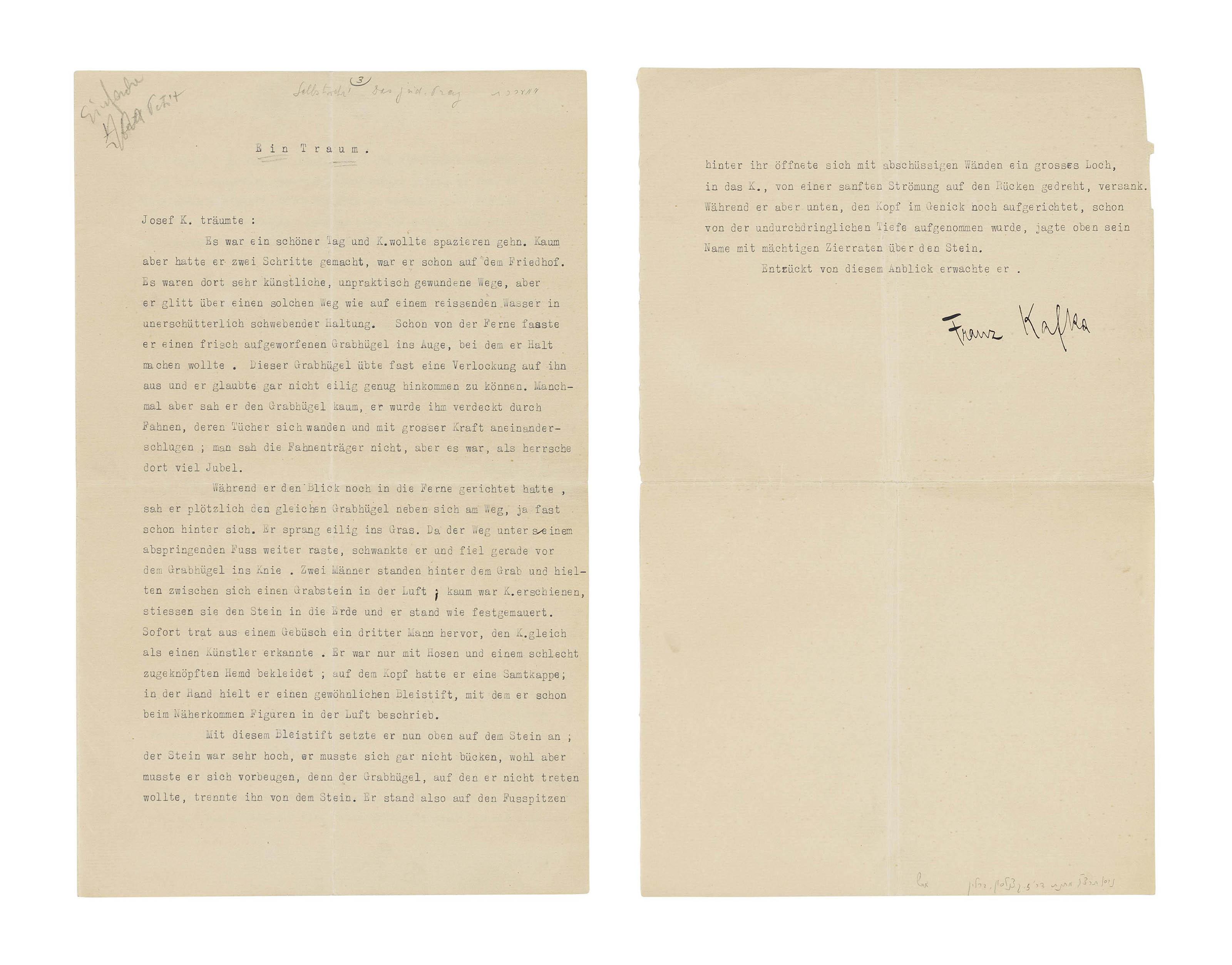 KAFKA, Franz (1883-1924)  Typescript signed ('Franz Kafka