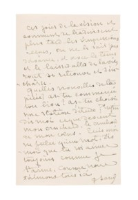 SAND, George (1804-1876). Autograph letter signed ('G. Sand') TO [GUSTAVE FLAUBERT], Nohant, 30 August 1873, 3 pages, 8vo, bifolium. Provenance: Stargardt, 1956, catalogue 527, no.198; Thommen, catalogue 57, no.43.