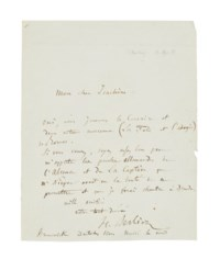 BERLIOZ, Hector (1803-1869). Autograph letter signed ('H. Berlioz') to Joseph Joachim, Deutsches Haus, Brunswick, 4 April [1854], confirming that they will be playing his overture Le Corsaire and the banquet and adagio from his symphony Roméo et Juliette; he asks Joachim to bring the German text for two other pieces, one page, 4to (minor loss to right margin). Provenance: Stargardt, 28 October 1955, cat. 524, lot 342.