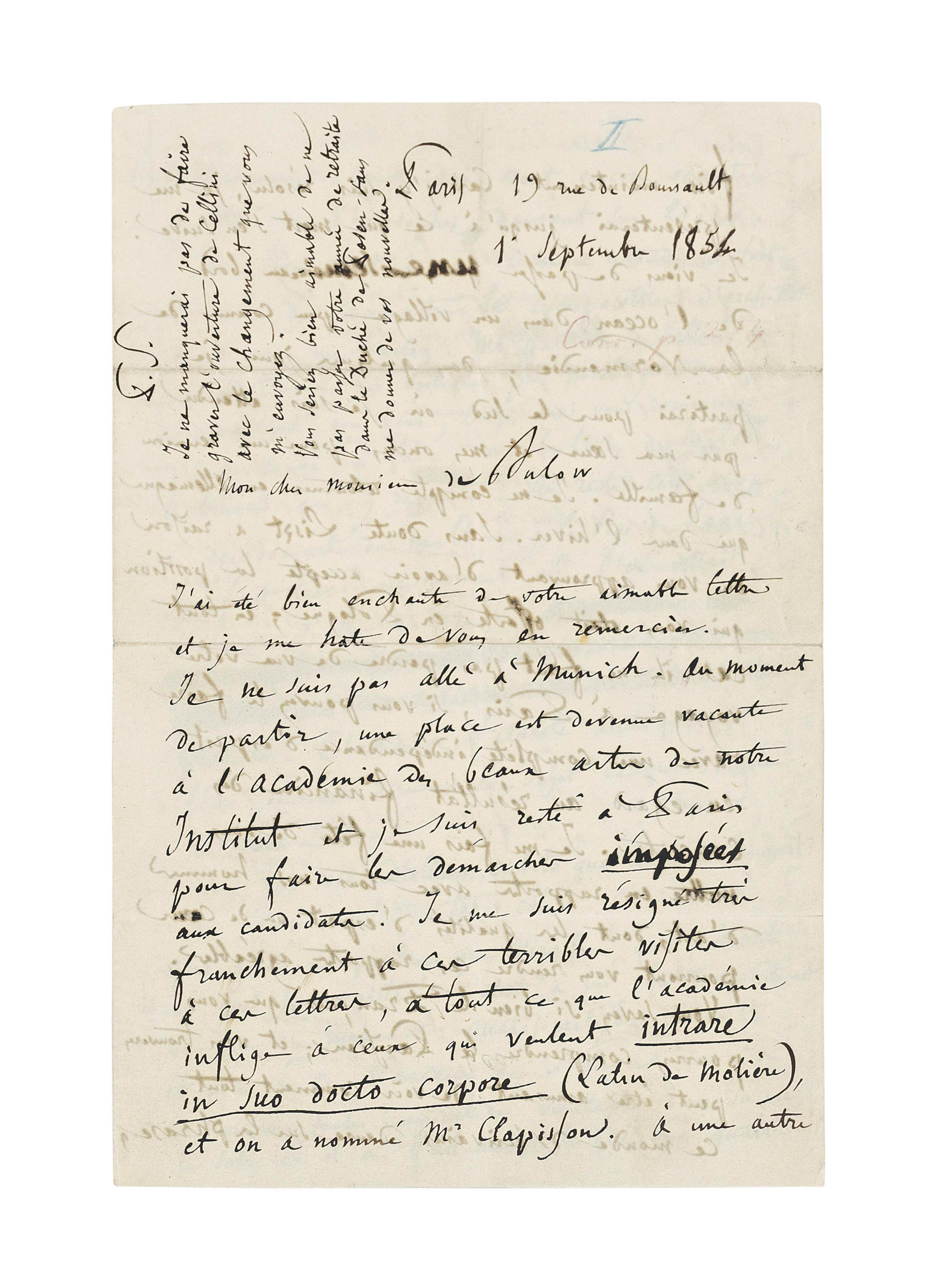 BERLIOZ, Hector (1803-1869). Autograph letter signed ('Hector Berlioz') to [Hans] von Bülow, 19, rue de Boursault, 1 September 1854, 2½ lines heavily cancelled, four pages, 8vo (bifolium), envelope. Provenance: acquired at Henrici, Berlin, by Dr Fritz and Dita Callomon, thence by gift, 1950.