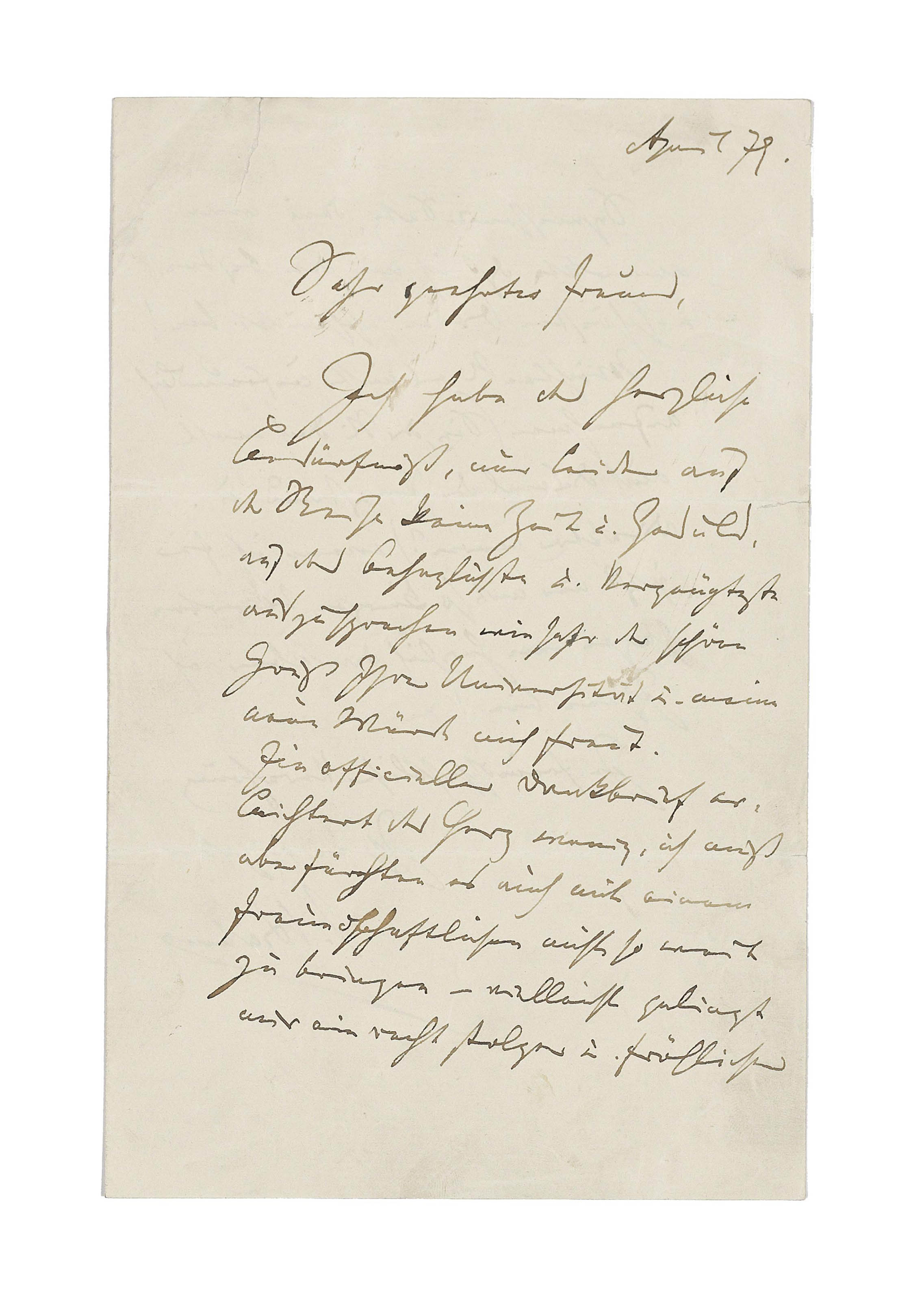 BRAHMS, Johannes (1833-1897). Autograph letter signed to [Dr Adolph Kauffman], n.p., April 1879. two pages, 8vo, bifolium (short tears at folds and upper margin, repaired with tape). Provenance: collection of Dr Fritz and Dita Callomon, and thence by gift.