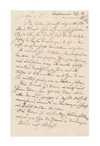 BRAHMS, Johannes (1833-1897). Autograph letter signed ('J.Br.') to Fritz Simrock ('L[ieber] S[imrock]'), Pressbaum, 19 September 1881, 6 pages, 8vo, bifolium and single leaf, on paper with embossed 'J.B.' (though used upside down). Provenance: Gerd Rosen, Berlin, 10-12 November 1955, catalogue 25 lot 1177.