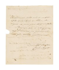 MOZART, Carl Thomas (1784-1858). Autograph letter signed ('Carlo Mozart') to the Milanese publisher Tito di Giovanni Ricordi, Salzburg, 27 August 1856, in Italian, asking him to send two pieces for piano to him in Salzburg, care of Cavaliere Giovanni de Finetti, namely 'La Dans [sic] des Fées di Taell' and 'Carnevale di Venezia di Schulhoff', promising to settle the bill on his return to Milan, two pages, 4to, integral address leaf (seal tear), dockets. Provenance: International Autographs, catalogue 11, no.30.