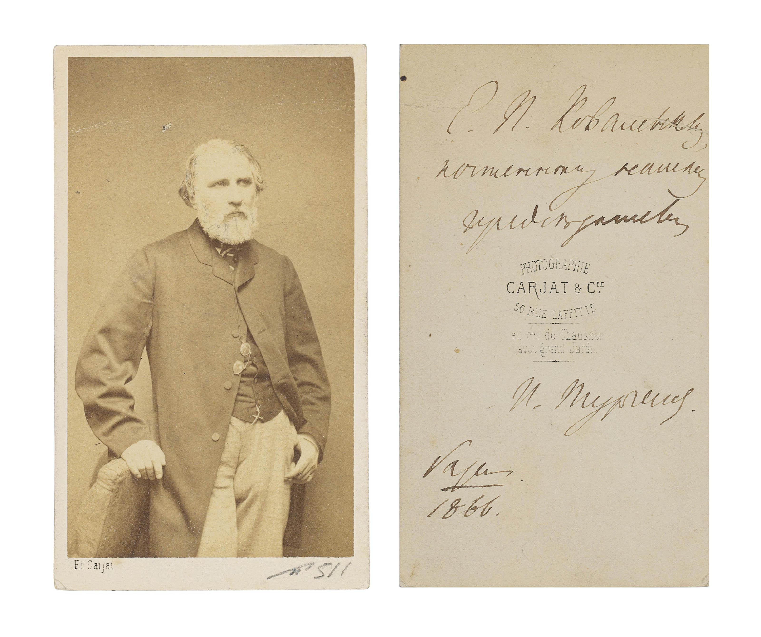TURGENEV, Ivan (1818-1883). Ph