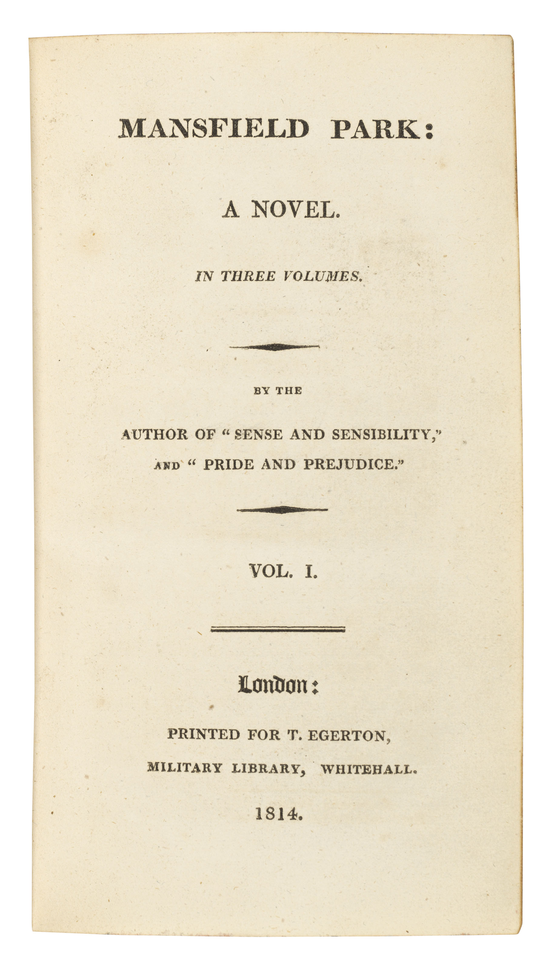 AUSTEN, Jane (1775-1817). Sense and Sensibility ... second edition. London: for the author by C. Roworth and published by T. Egerton, 1813. 3 volumes. (Lacks half-titles and final blanks, some browning and staining.) Gilson A2; Keynes 2.