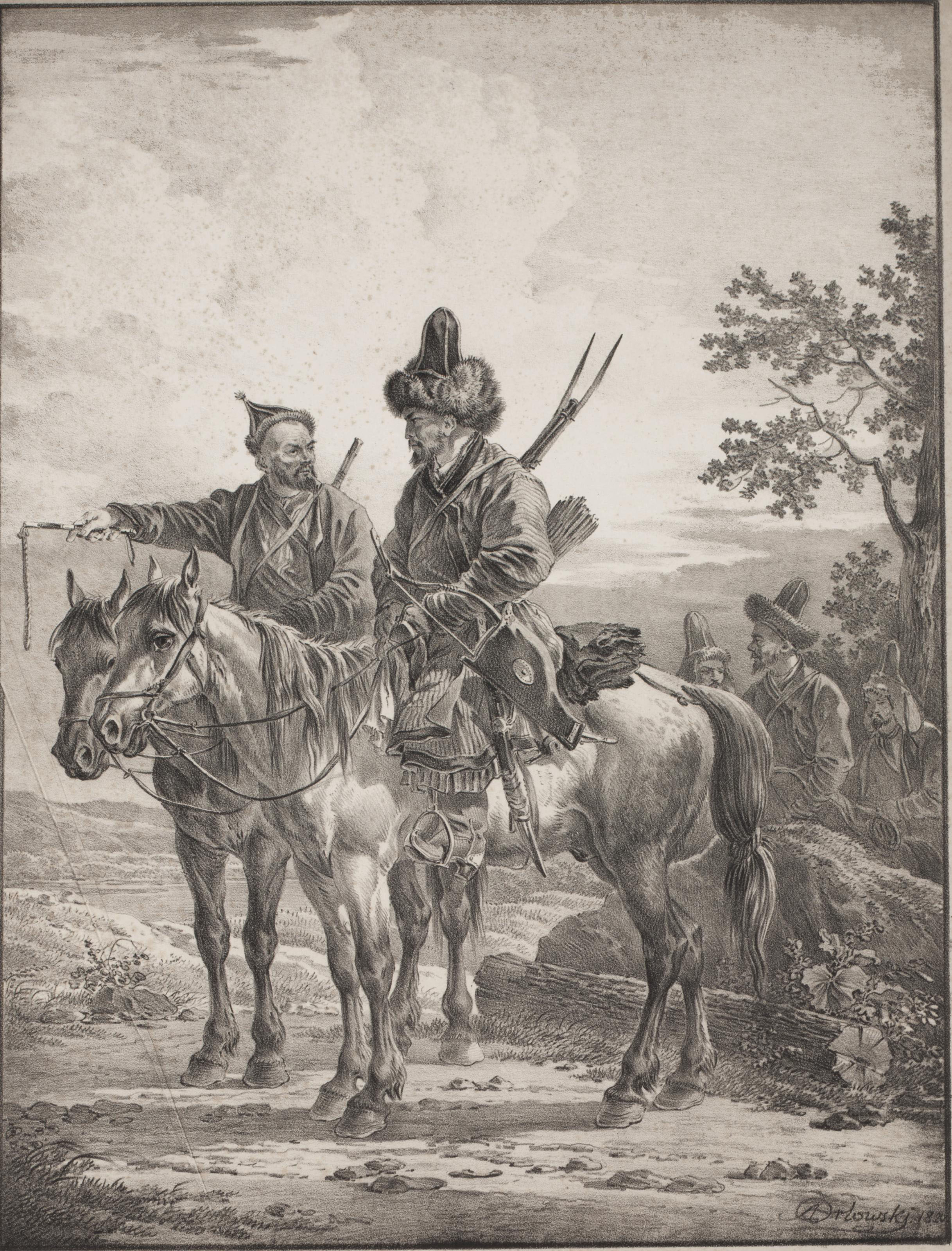 Two Bashkirs on horseback; and Two Cossacks on horseback