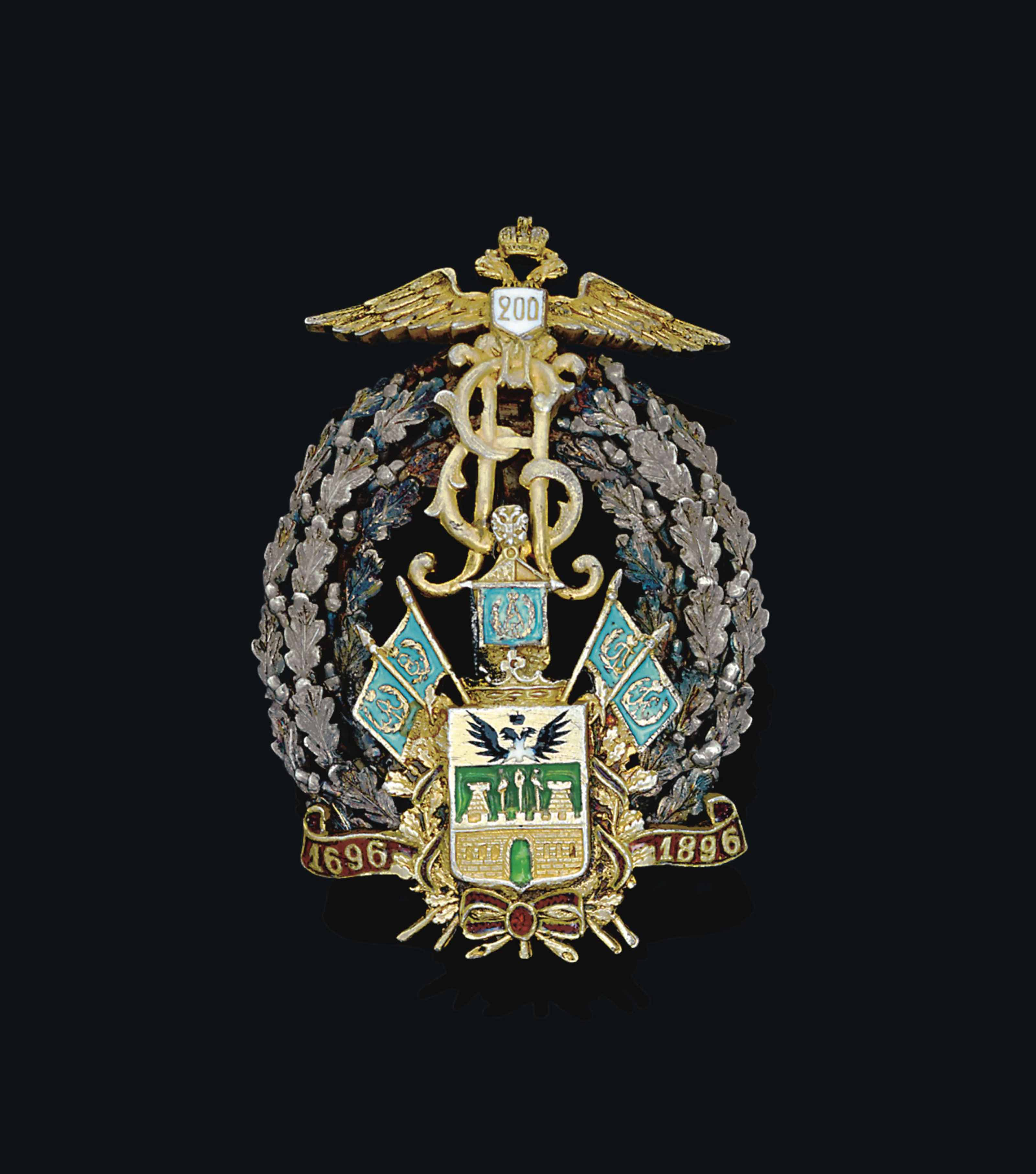 A METAL-GILT AND ENAMEL BADGE OF THE KUBAN COSSACK ARMY