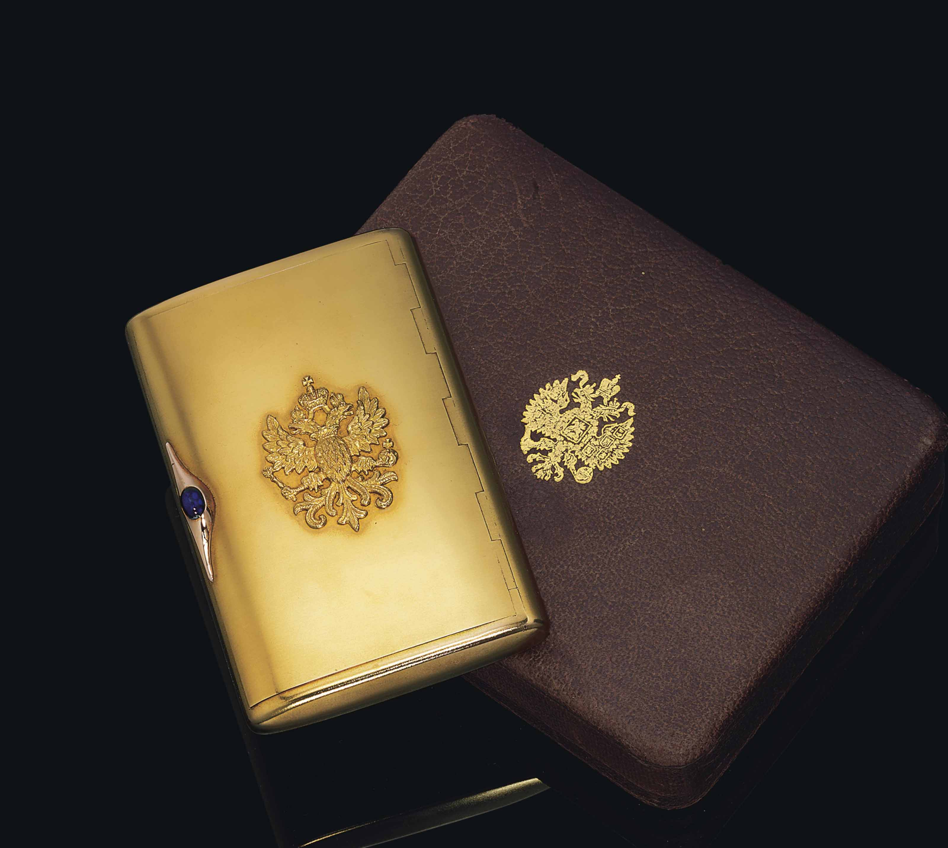 A JEWELLED TWO-COLOUR GOLD PRESENTATION CIGARETTE CASE