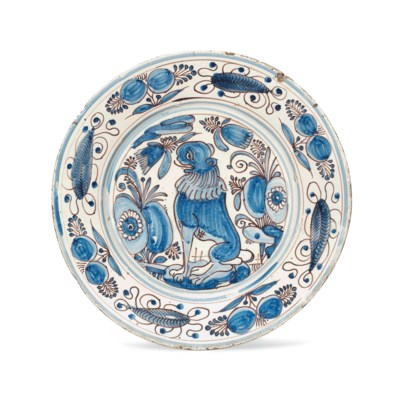 A PORTUGUESE MAIOLICA BLUE AND