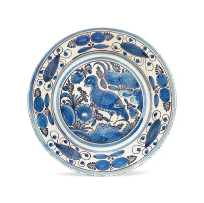 A PORTUGUESE MAIOLICA BLUE AND