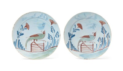 A PAIR OF ENGLISH DELFT POLYCH