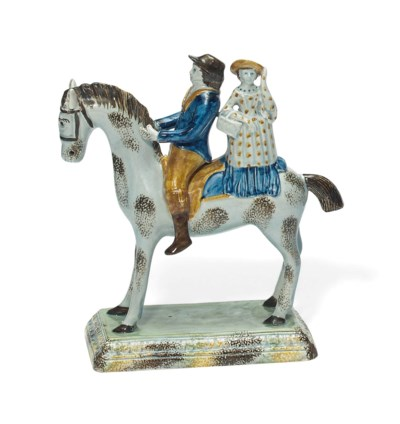 A STAFFORDSHIRE PEARLWARE EQUE